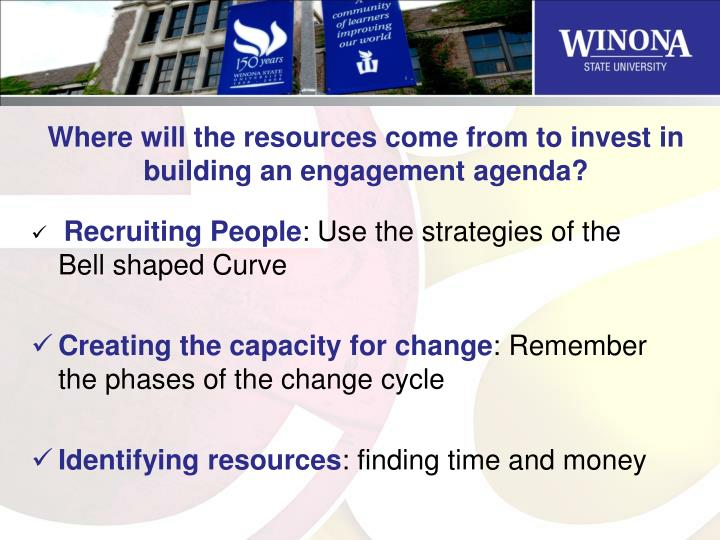 Where will the resources come from to invest in building an engagement agenda?