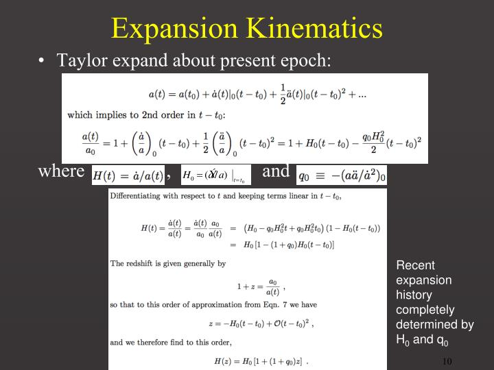 Expansion Kinematics