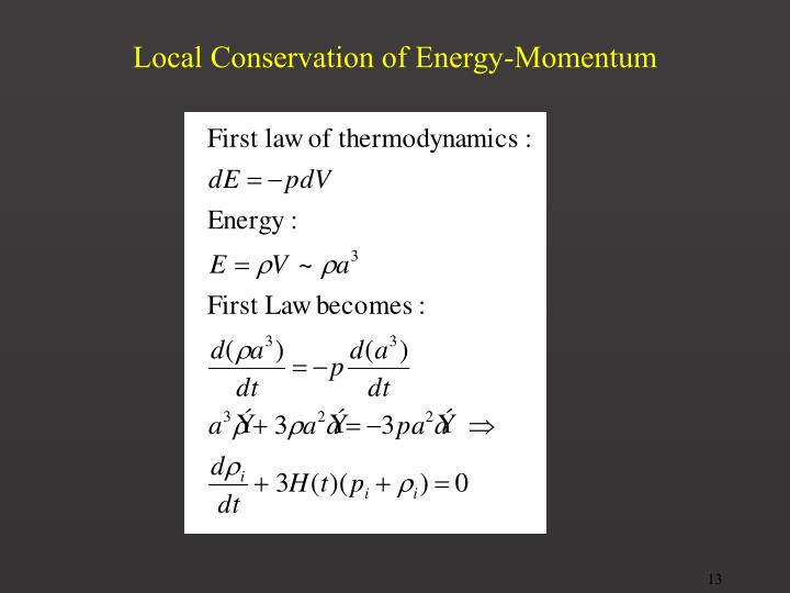 Local Conservation of Energy-Momentum