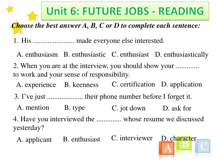 Unit 6: FUTURE JOBS - READING