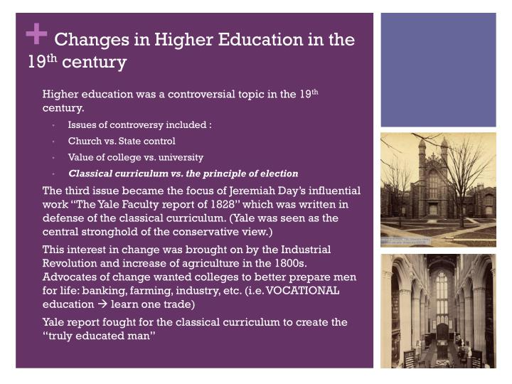 Changes in Higher Education in the 19