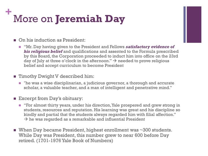 More on jeremiah day
