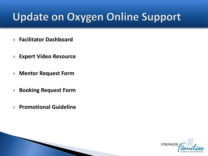 Update on Oxygen Online Support