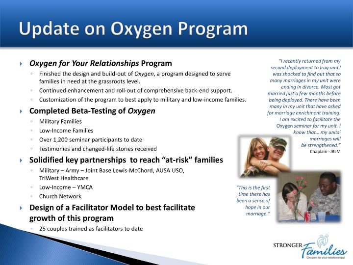 Update on oxygen program