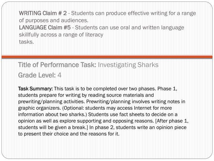 WRITING Claim # 2