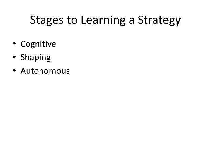 Stages to Learning a Strategy