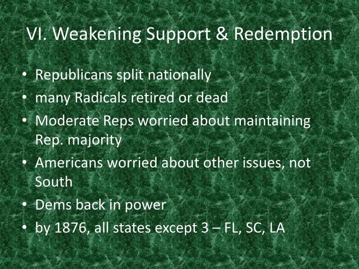 VI. Weakening Support & Redemption