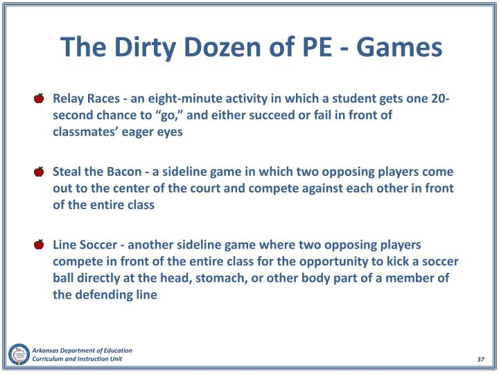 The Dirty Dozen of PE - Games