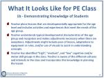 what it looks like for pe class 1b demonstrating knowledge of students