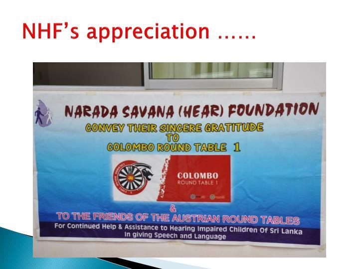 NHF's appreciation ……