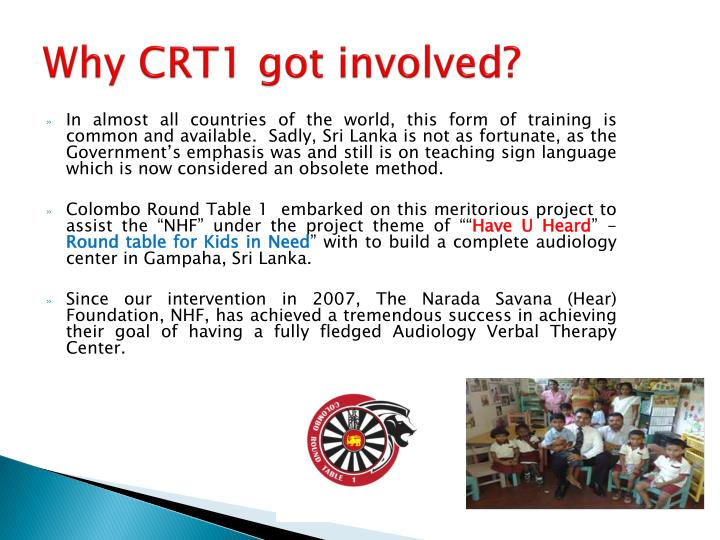 Why CRT1 got involved?