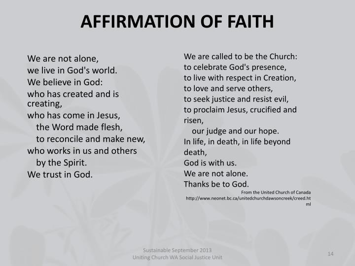 AFFIRMATION OF FAITH