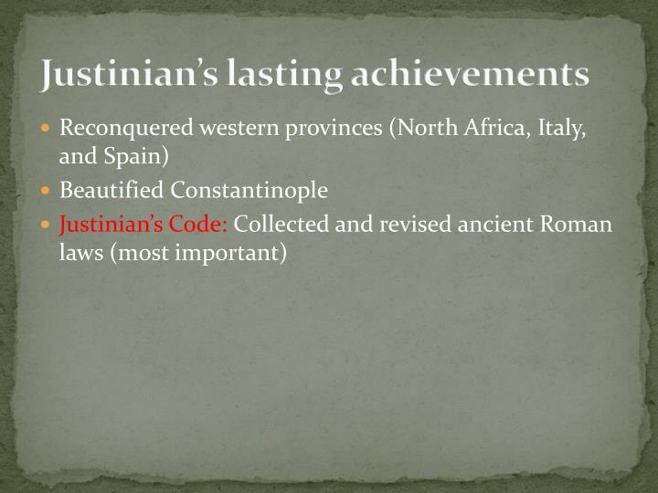 Justinian's lasting achievements