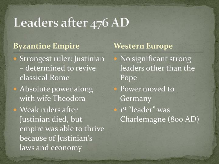 Leaders after 476 AD