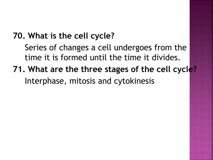 70. What is the cell cycle?