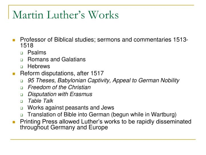 martin luther writings Here's a look at the life of dr martin luther king jr personal: birth date: january  15, 1929 death date: april 4, 1968 birth place: atlanta.