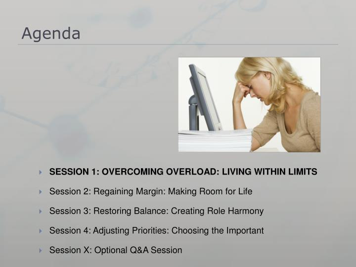 SESSION 1: OVERCOMING OVERLOAD: LIVING WITHIN LIMITS