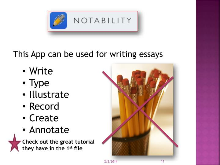 This App can be used for writing essays