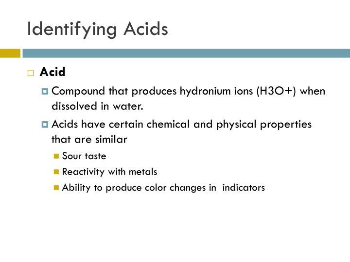 Identifying Acids