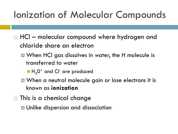Ionization of Molecular Compounds