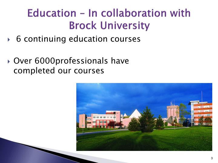 Education in collaboration with brock university