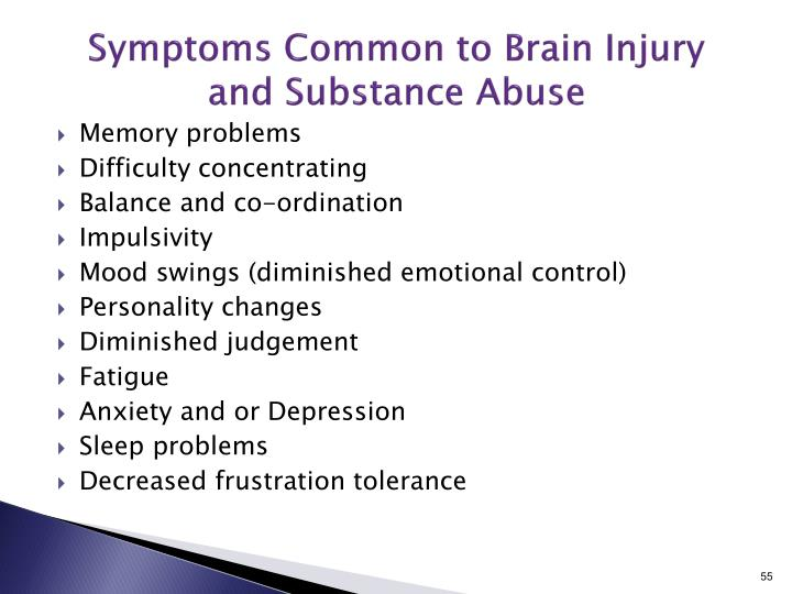 Symptoms Common to Brain Injury