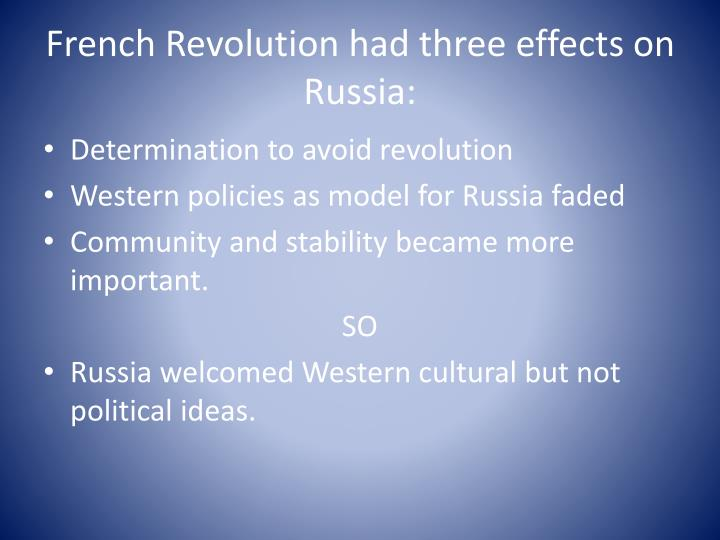 French Revolution had three effects on Russia: