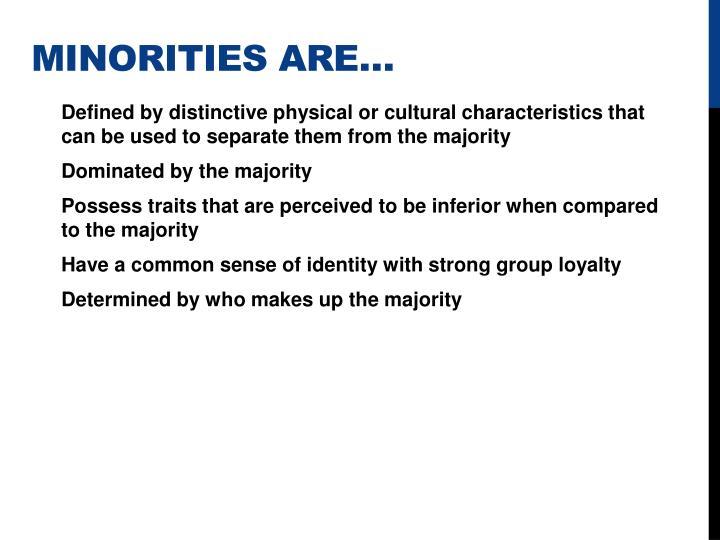 Minorities are…