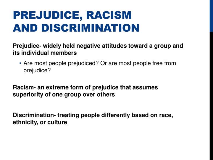 Prejudice, Racism and Discrimination