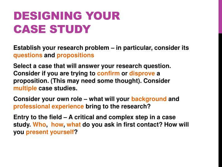 Designing your case study