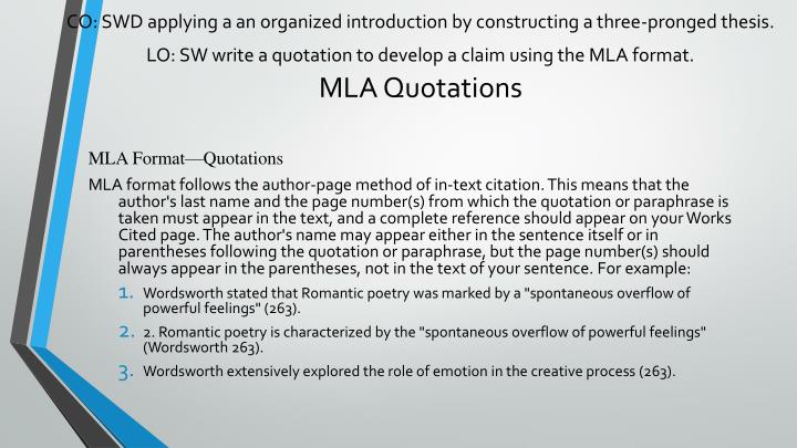 CO: SWD applying a an organized introduction by constructing a three-pronged thesis.