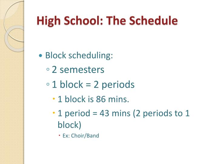High School: The Schedule