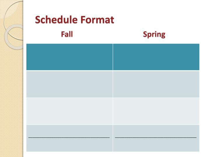 Schedule Format