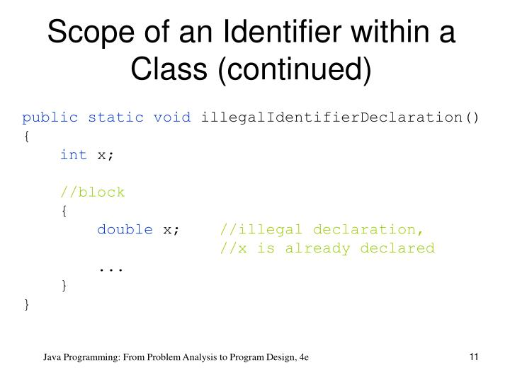 Scope of an Identifier within a Class (continued)