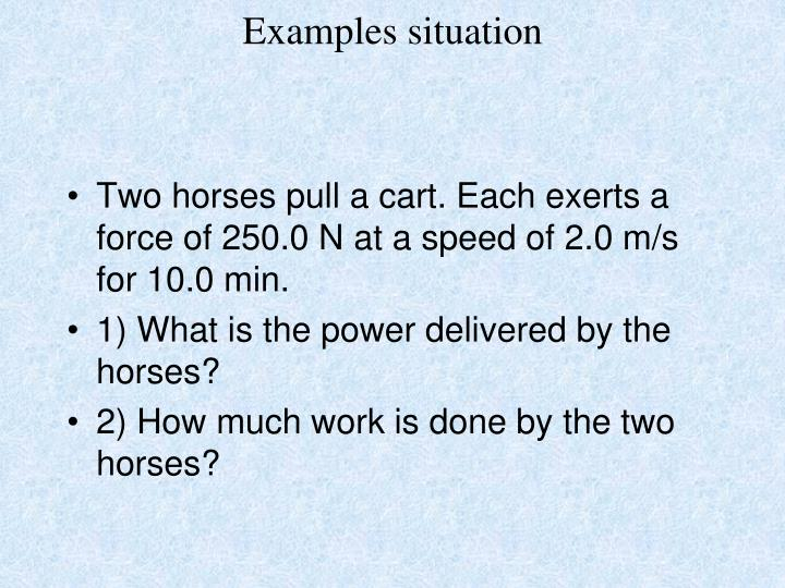 Examples situation