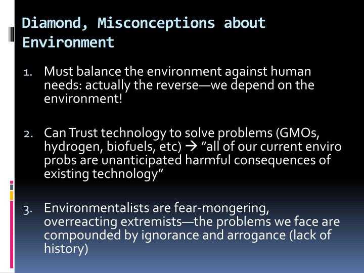 Diamond, Misconceptions about Environment