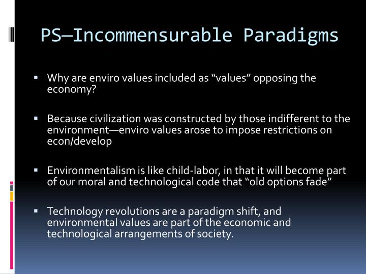 PS—Incommensurable Paradigms