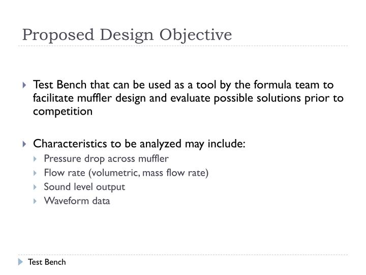 Proposed Design Objective