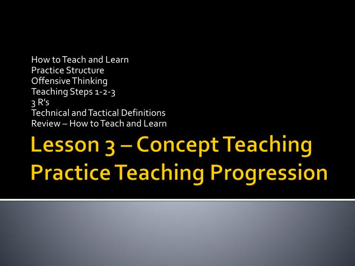 Lesson 3 concept teaching practice teaching progression