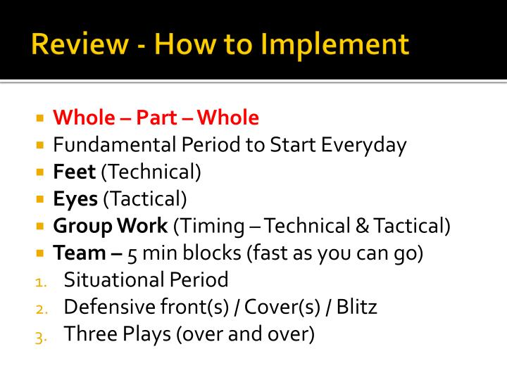 Review - How to Implement