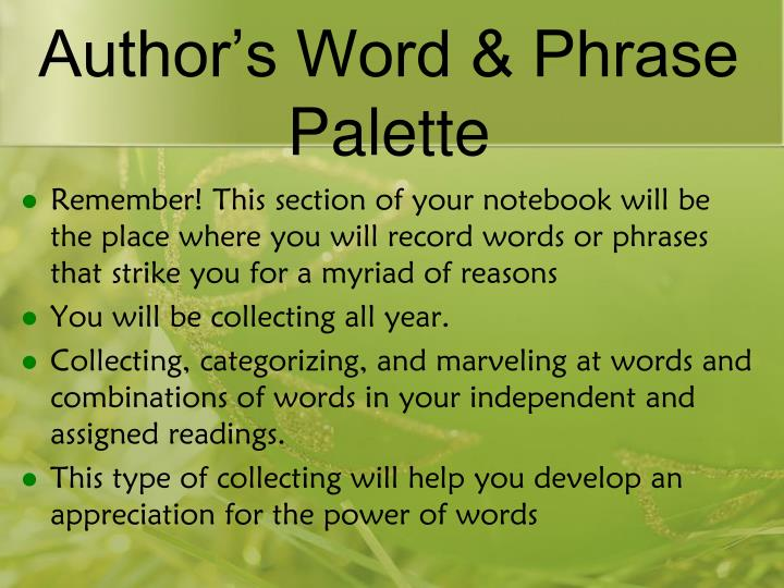 Author s word phrase palette