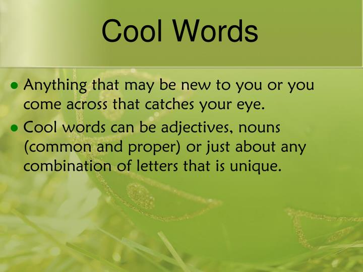 Cool Words