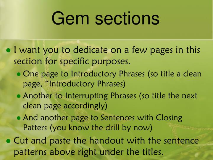 Gem sections