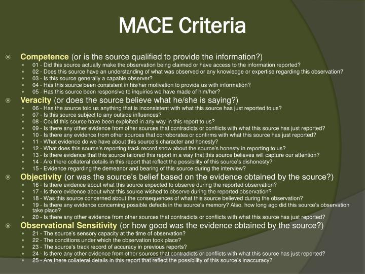 MACE Criteria