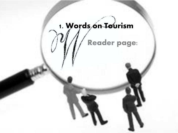 Week 2 1 words on tourism