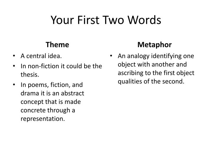 Your First Two Words