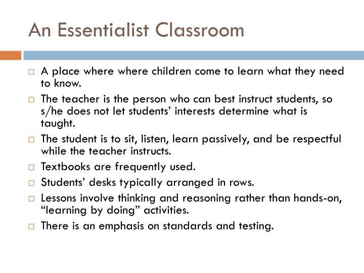 An Essentialist Classroom