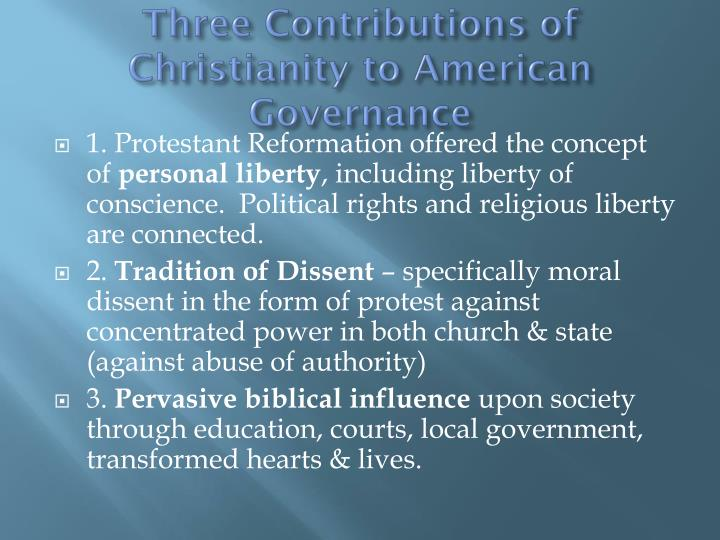 Three Contributions of Christianity to American Governance