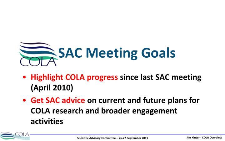 SAC Meeting Goals
