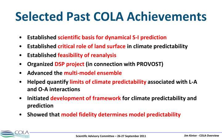 Selected Past COLA Achievements